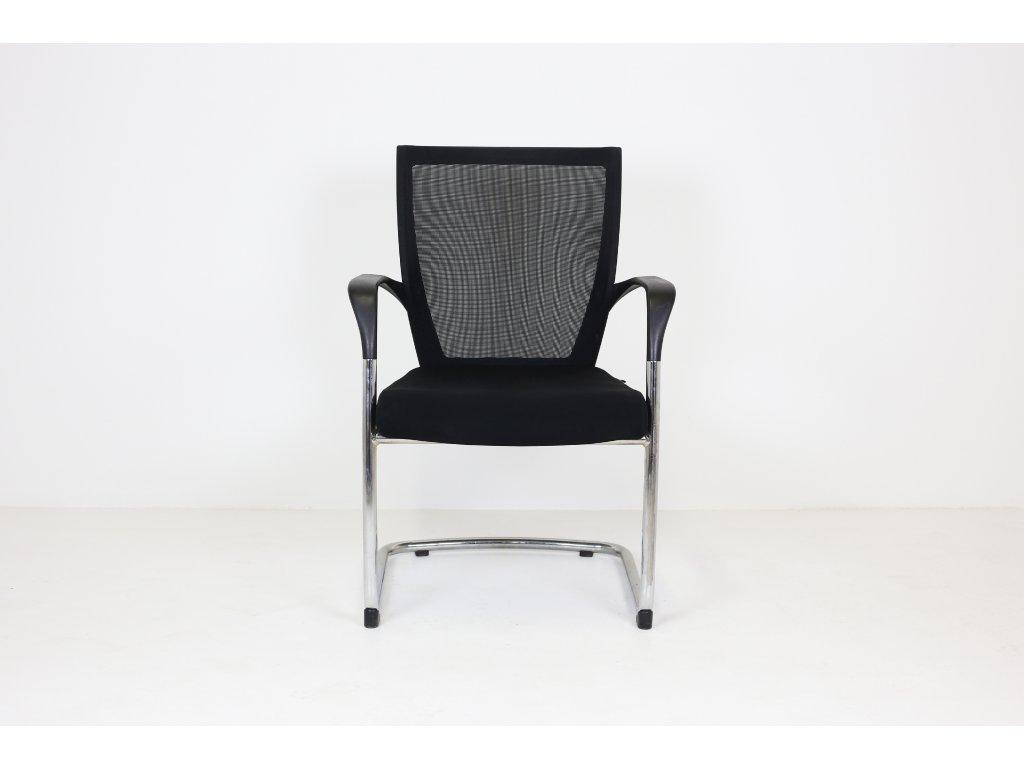 Židle konferenční, Sidiz, černá/chrom, područky, síť záda