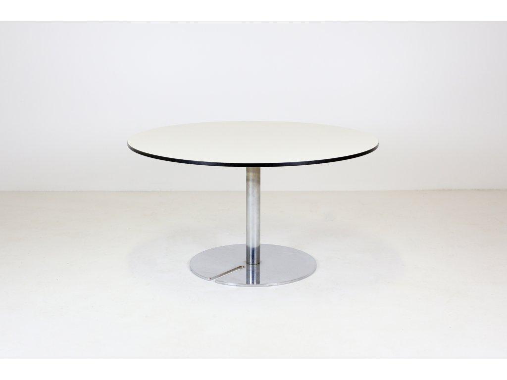 Stůl nízký konferenční, pr. 85 cm, výška 45 cm, Nerez/bílá/černá linka /kompakt/