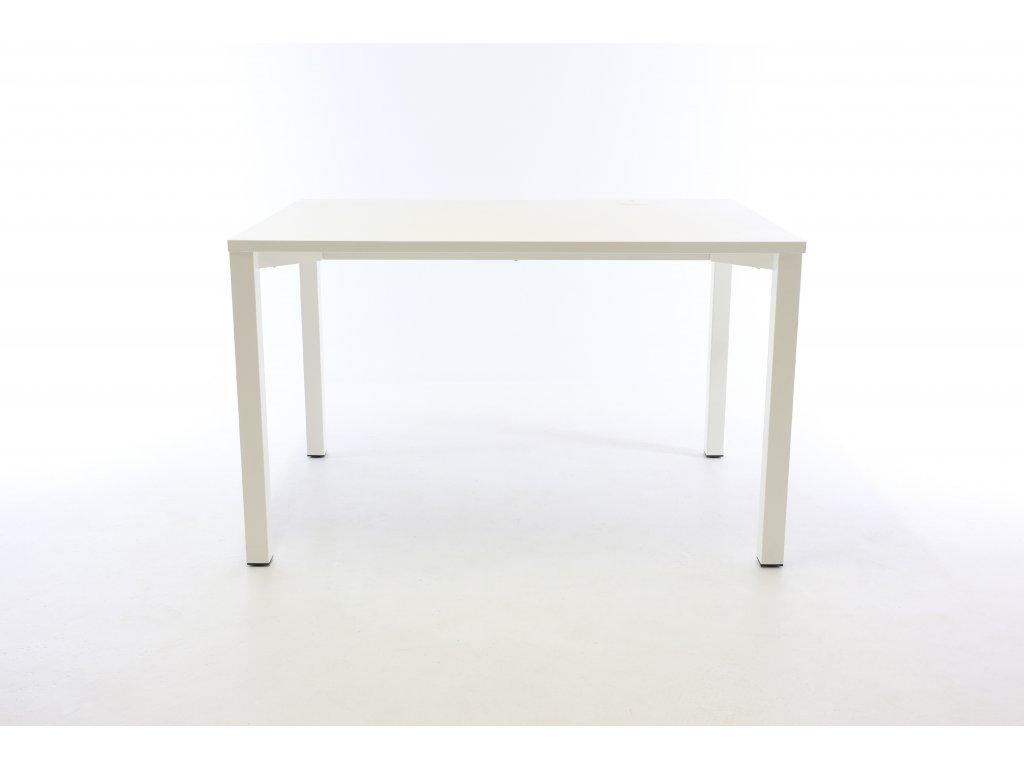 Stůl rovný, ALFA 200, 120x80, bílá/bílá, kab. průchodka