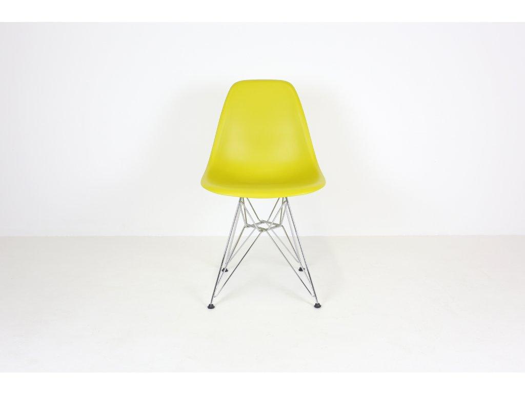 Židle jídelní, Vitra 43, hořčicová/chrom, plast
