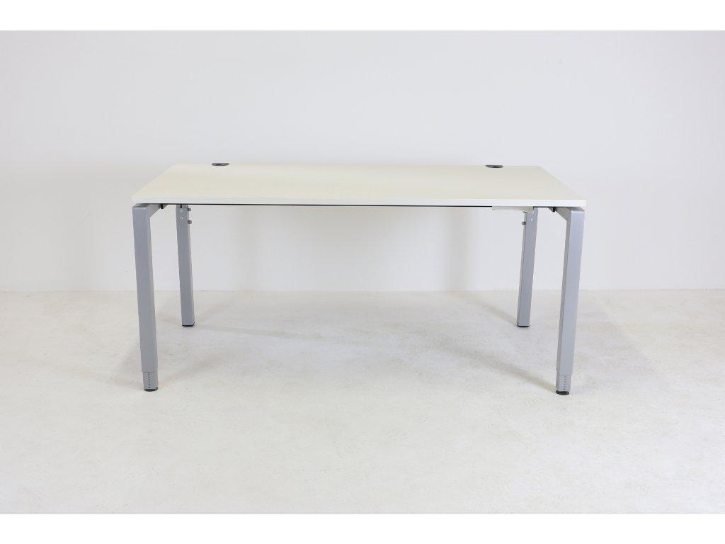 Stůl, Kinnarps, 160x80, bílá/šedá, výš. stavitelný. 73-86 cm