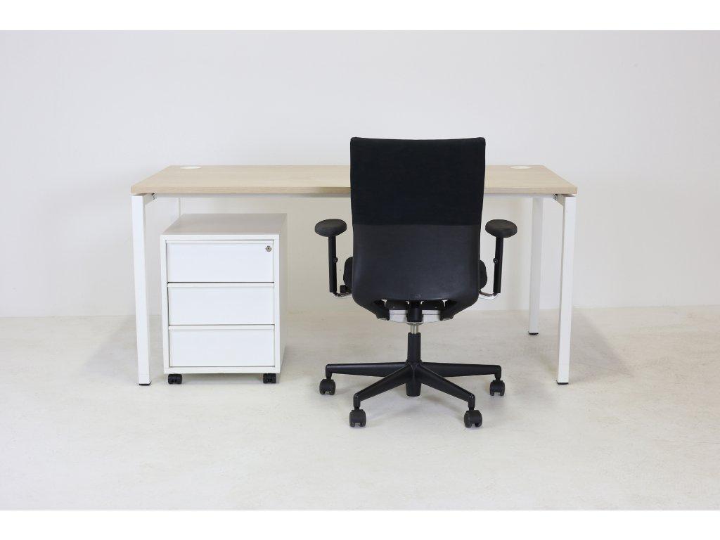 Set: Stůl+kontejner, Narbutas, dub/bílá + Židle Vitra Axess černá