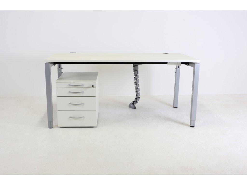 Set: Kinnarps, stůl 160 stavitelný+kontejner, bílá/šedá