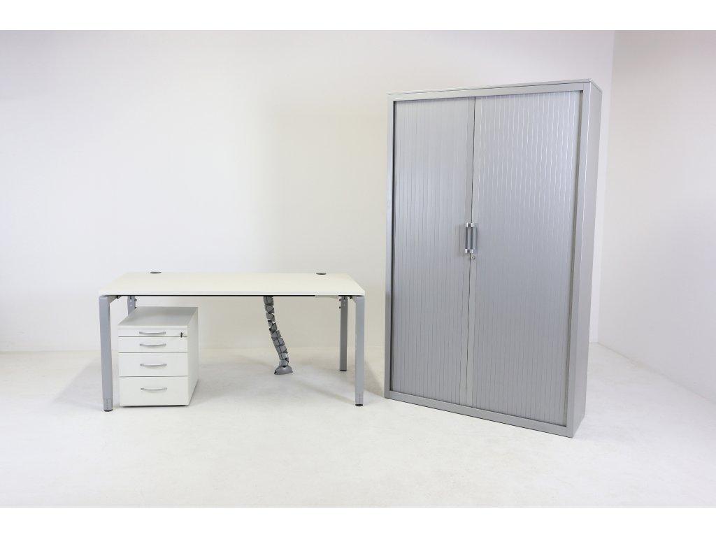Set: Stůl stavitelný + kontejner + skříň 50H, Kinnarps, bílá/šedá
