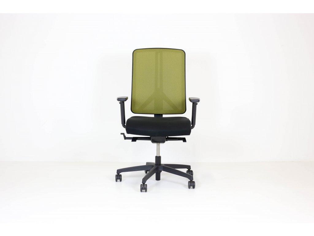 Židle kolečková, Rim FX 1106, černá/zelená, síť. záda, područky