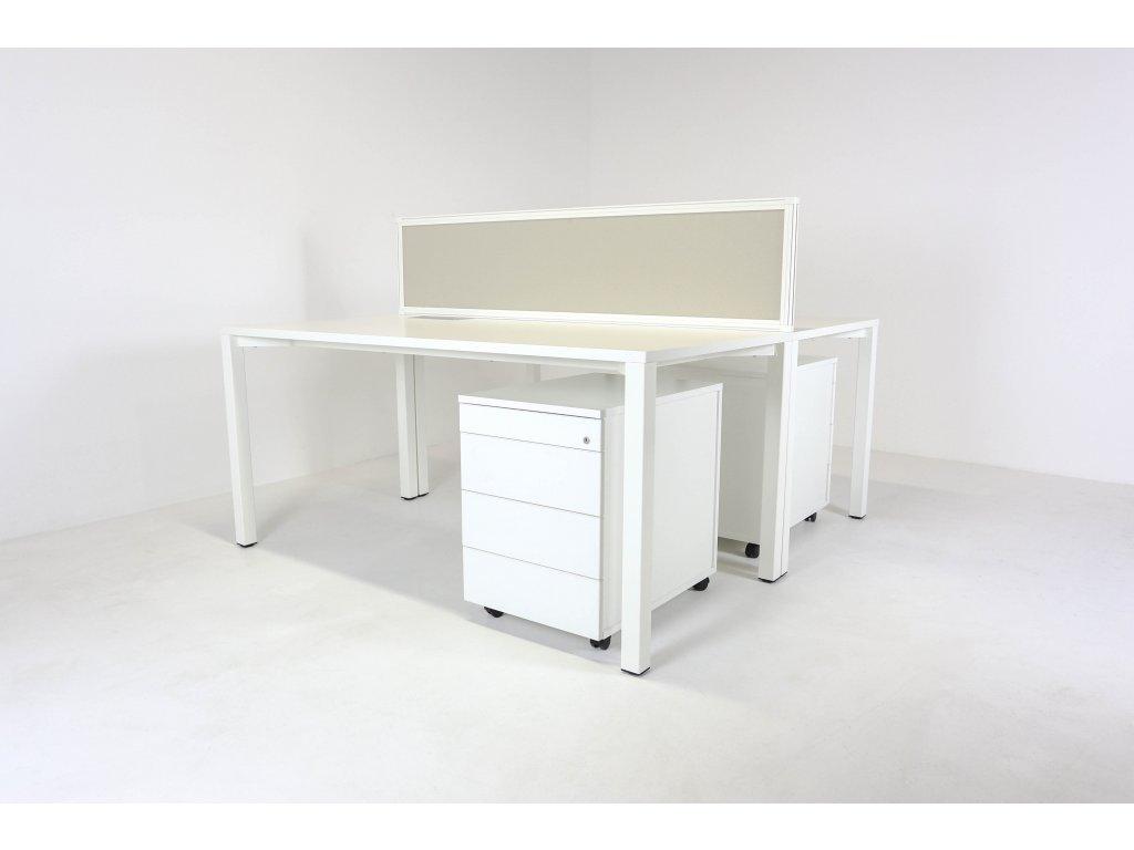 Set: 2x Stůl Alfa 160x80 + 2x kontejner + paraván