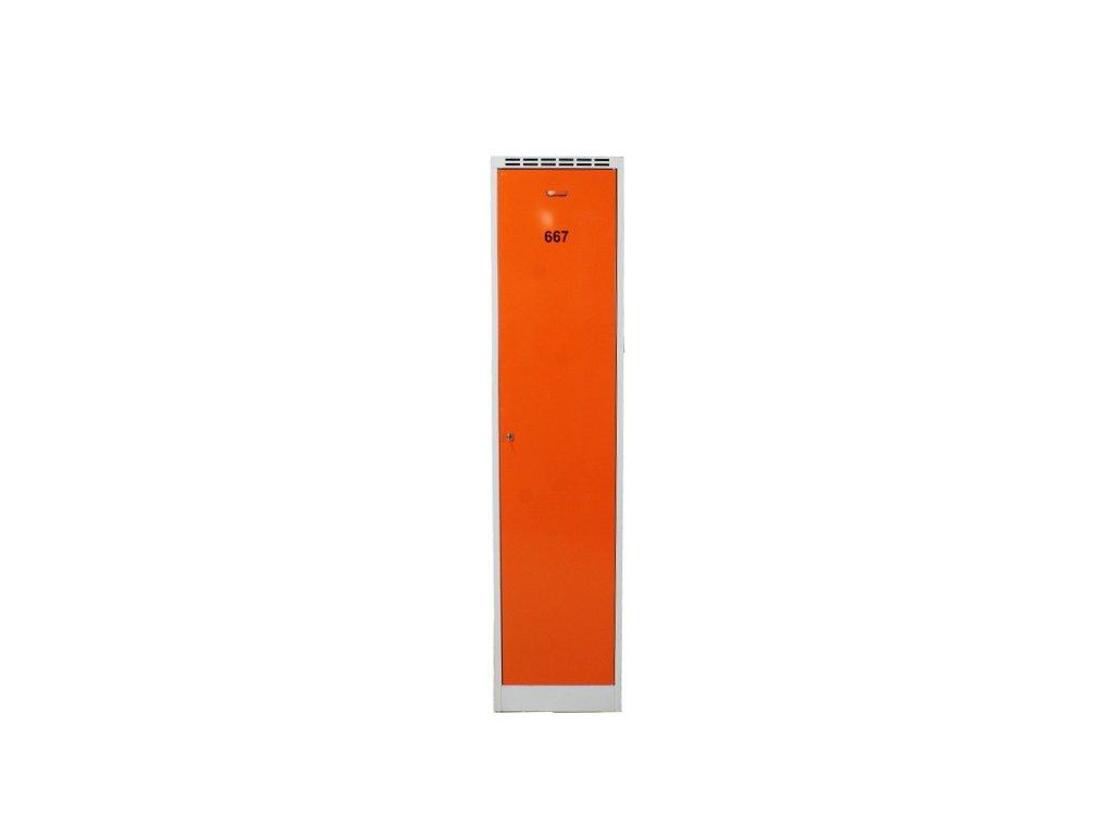 2+1 zdarma, 3x kovová šatní skříň, 195x45x58, šedá/oranž. dveře
