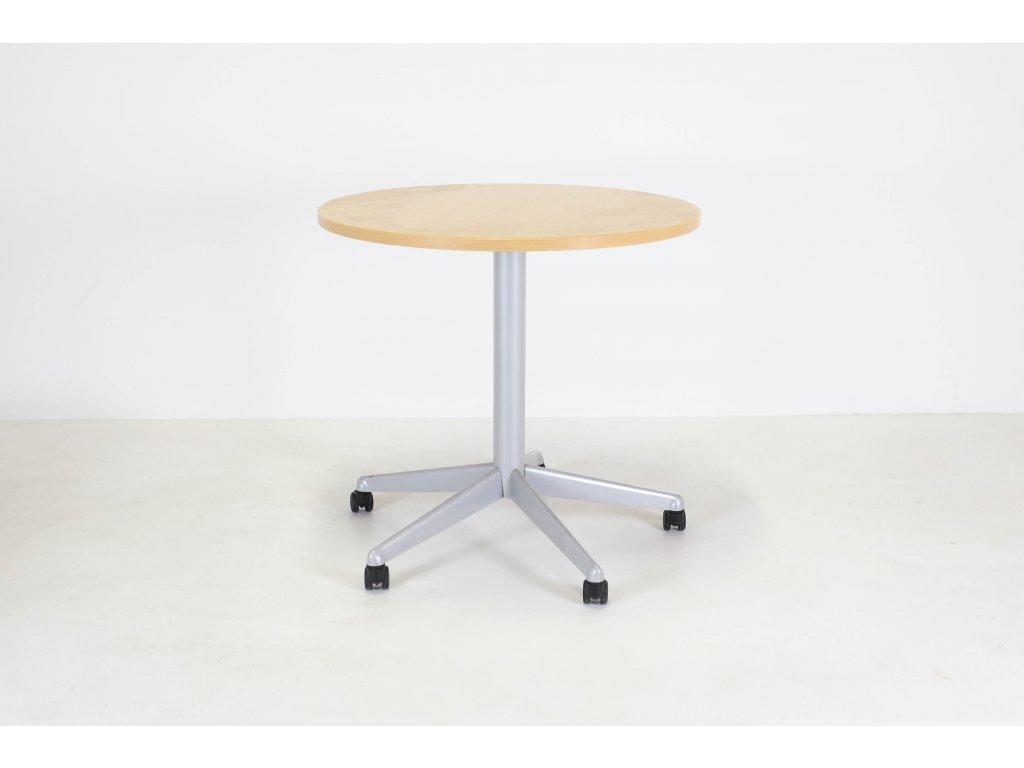 Stůl konferenční, 80 cm, kulatý,Apple/šedá centr. noha, kolečka