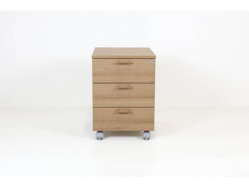 Kontejner, pod stůl, OXI, 58x55x42, sv.ořech, zámek, kolečka