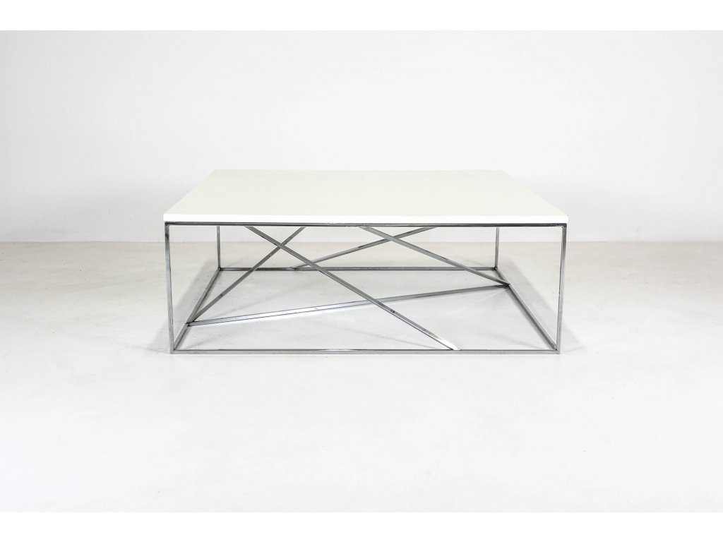 Stůl konferenční, 45x100x100 cm Techo, nízký, corian bílá/chrom