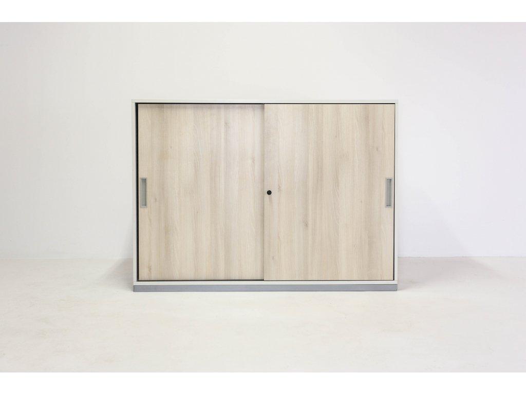 Skříň, Steelcase, 115x160x40, akácie/bílá, police, posuv