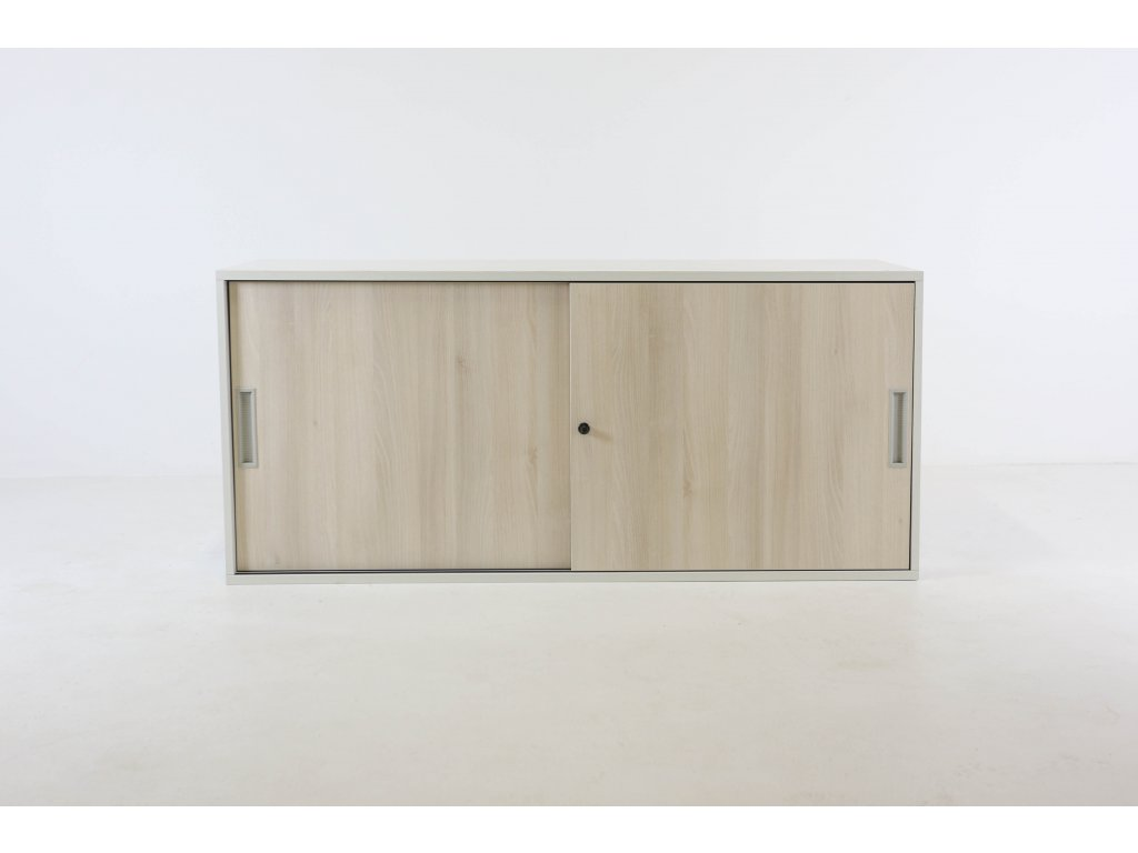 Skříň, Steelcase, 72x160x40, akácie/bílá, police, posuv, nástavba