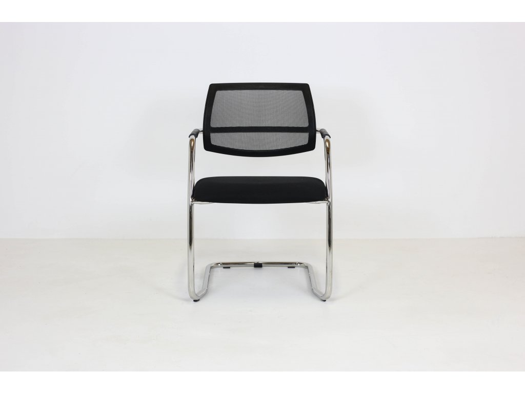 Židle konferenční, Peška, černá/chrom, síťovaná záda