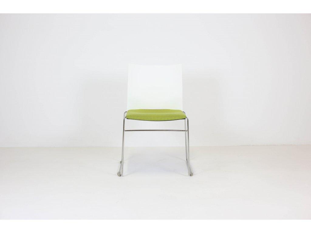 Židle konferenční, Rim, bílá/zelená/chrom, plast