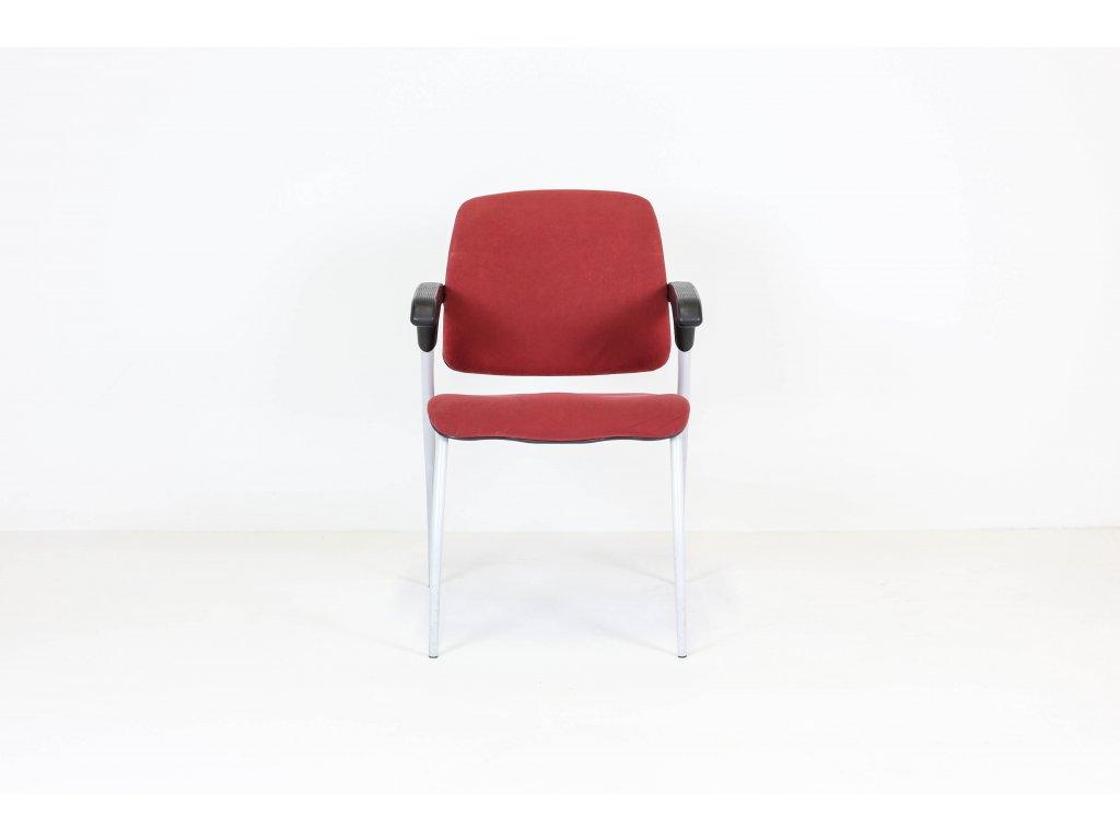 Židle konferenční, ALBA, červená/černá/šedá, semiš, područky