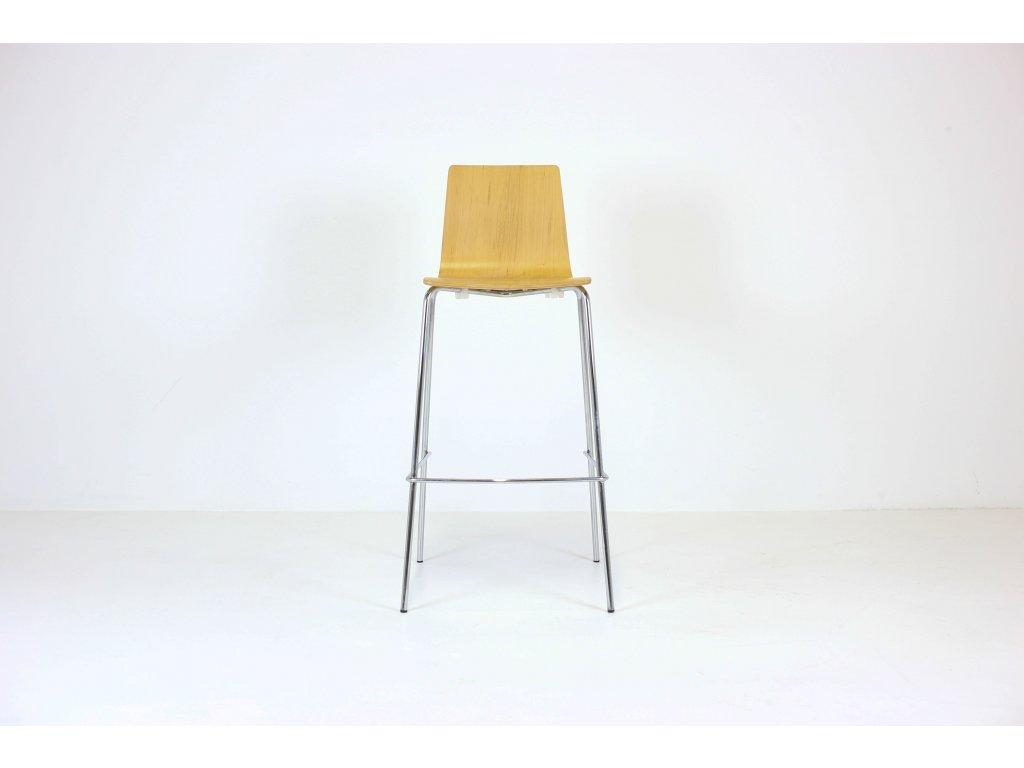 Židle barová, Rim, hnědá/chrom, překližka