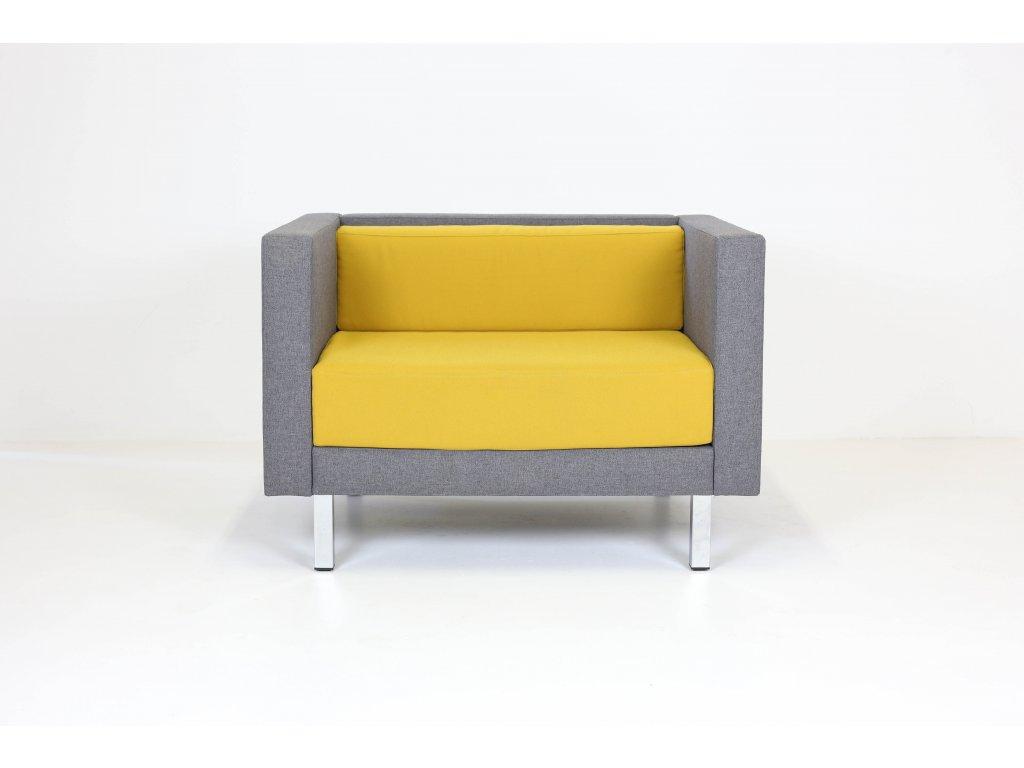 Křeslo, 71x104x77, žlutá/šedá, látka