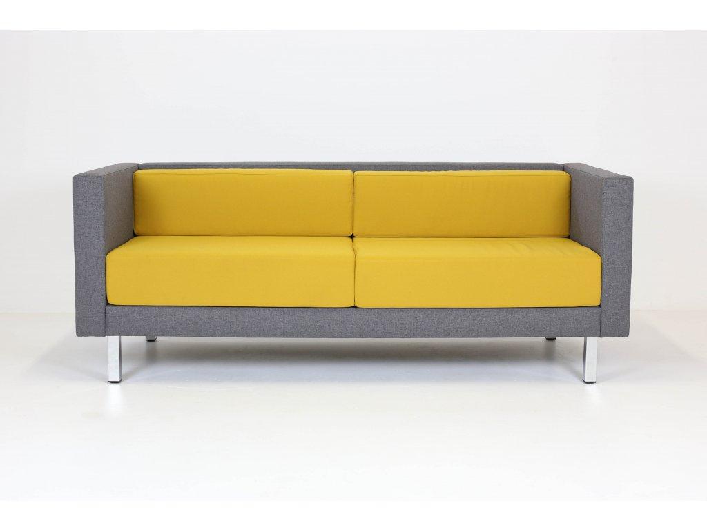 Sofa, 71x190x77, žlutá/šedá, látka