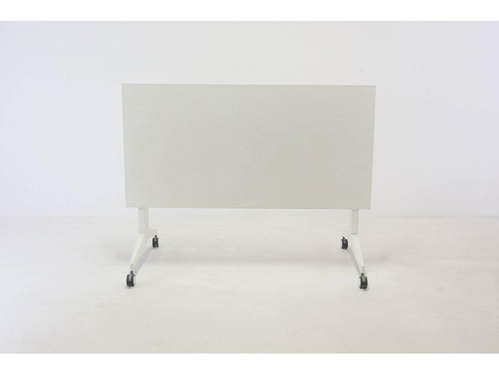 Stůl konferenční, 140x70, bílá/šedá/chrom, skládací