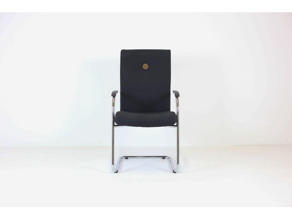 Židle konferenční, Rim, černá/chrom, vysoká záda, područky