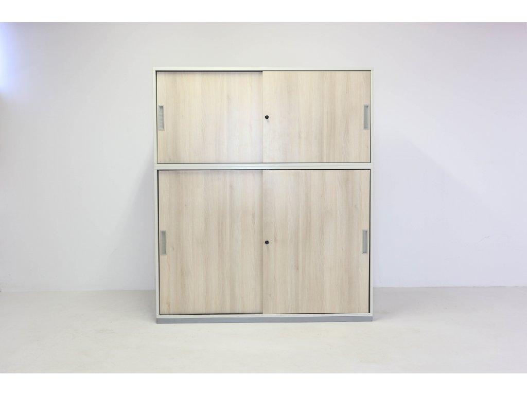 Skříň, Steelcase, 187x160x40, akácie/bílá, police, posuv