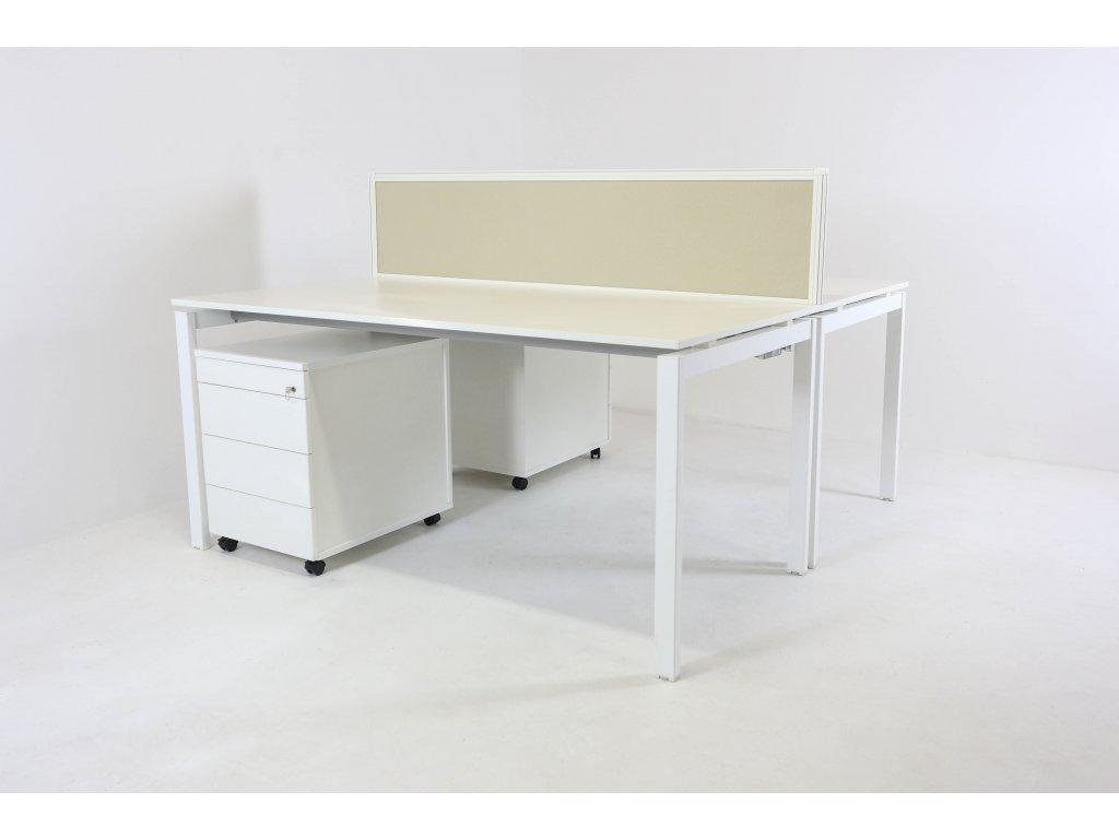 Set: 2x Stůl Weisner H. 160x80 + 2x kontejner Vitra + paraván Techo