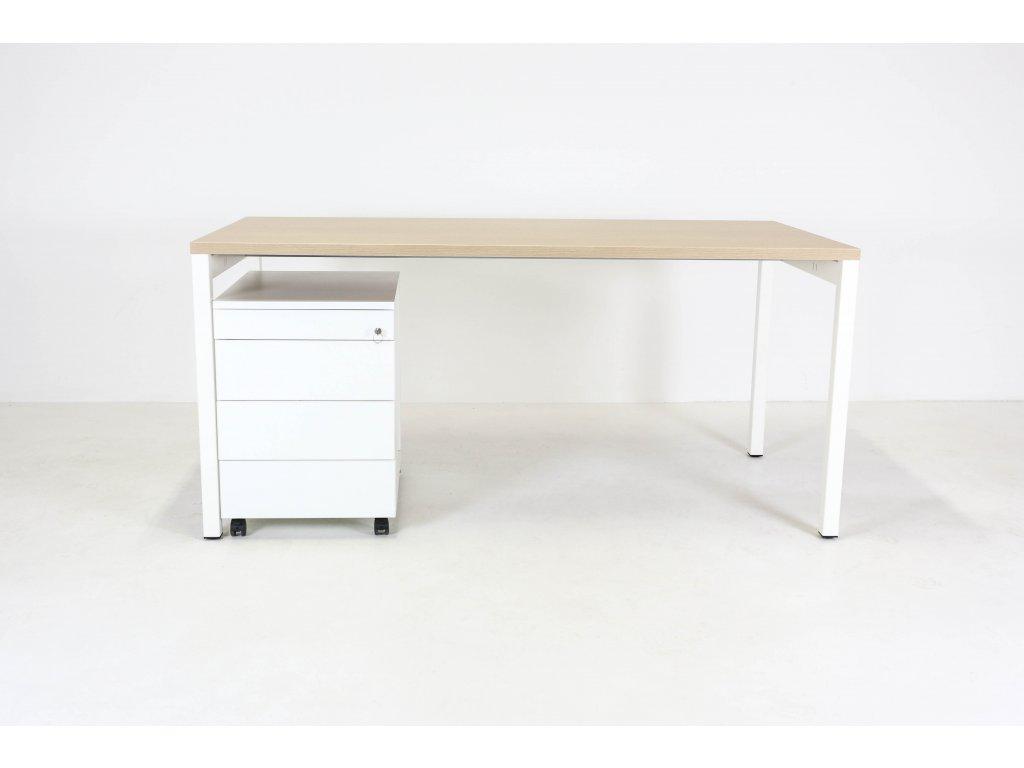 Set: Stůl MDD /nový/ + kontejner Alfa, dub/bílá