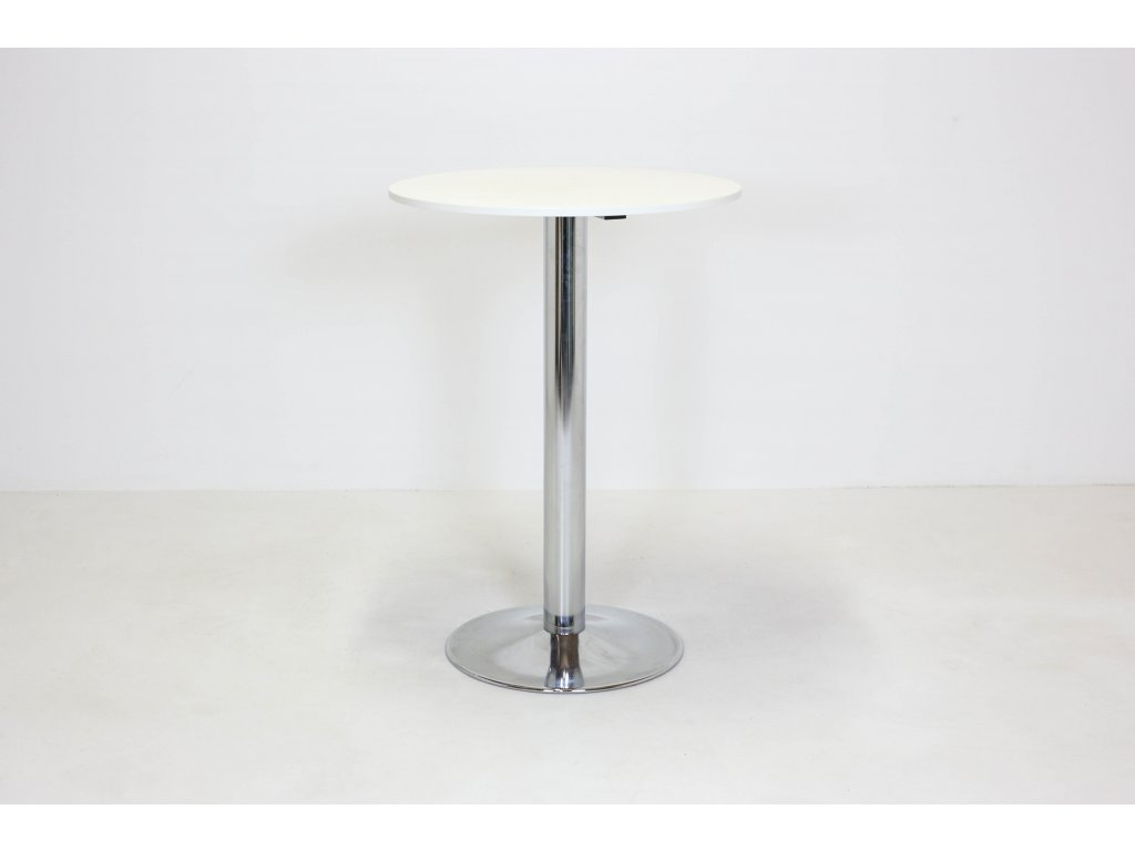 Stůl barový, pr80xv113, chrom/bílá