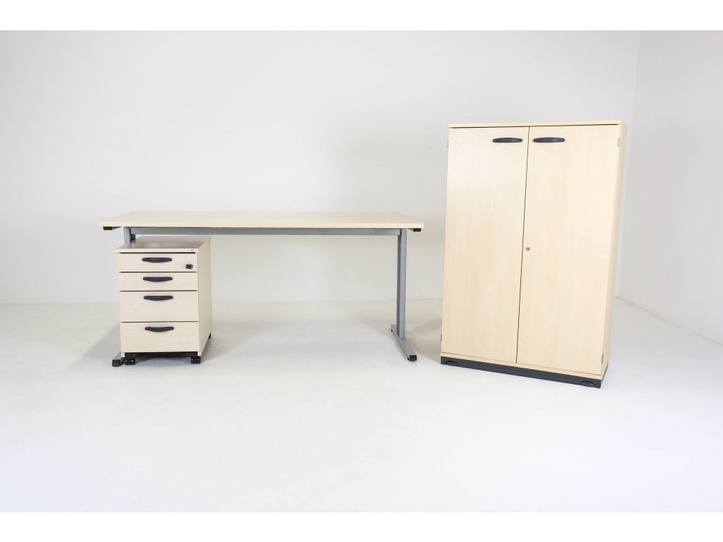 Set: Stůl Profil 160 + kontejner + skříň Kinnarps javor/bříza