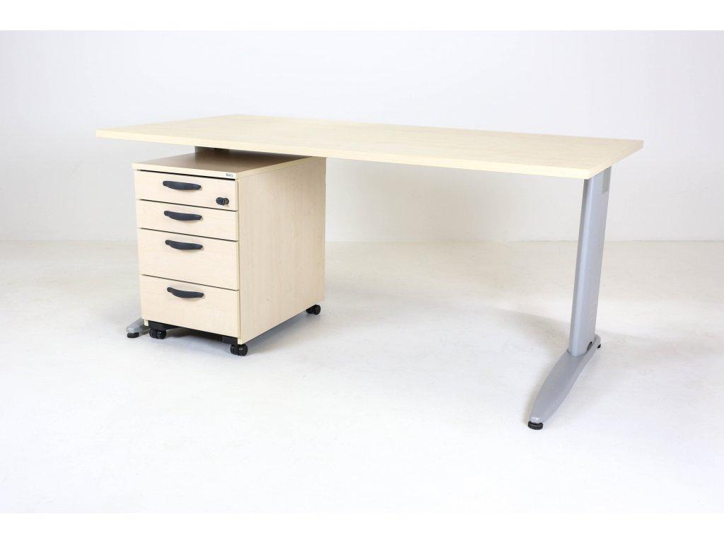 Set: Stůl LAS+Kinnarps 140x80+kontejner, javor/stříbrná