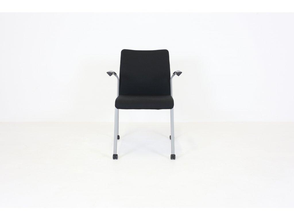Židle konferenční, Steelcase, šedá/šedá, područky, kolečka