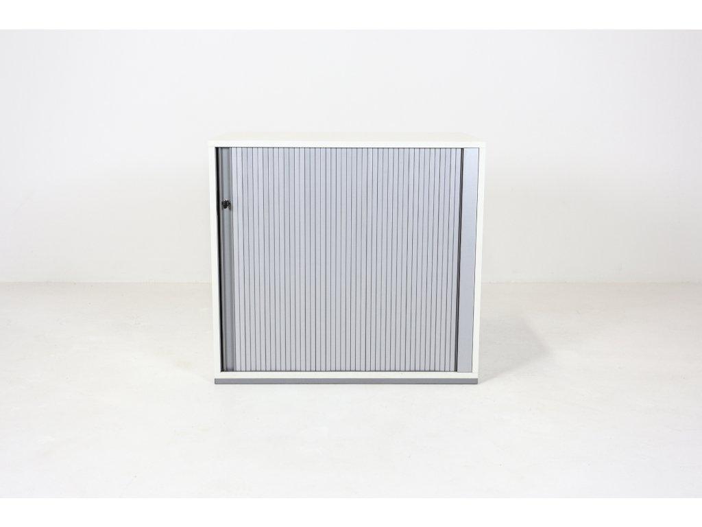 Skříň nízká, Techo, 73x80x42, bílá/šedá, žaluzie,