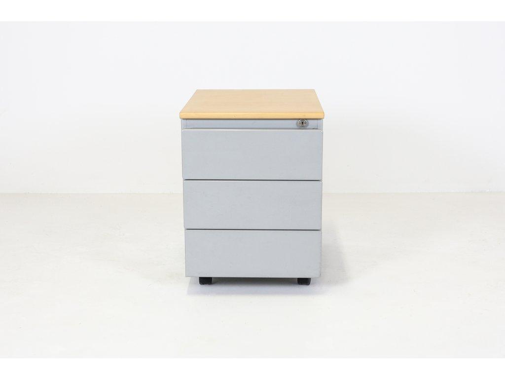 Kontejner, Steelcase, v57x42x56, apple/šedá, kov, oblý