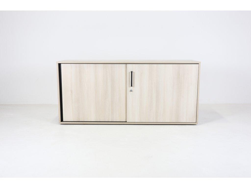 Skříň, Steelcase, 72,5x160x43, běl. dub/granit, dveře posuv