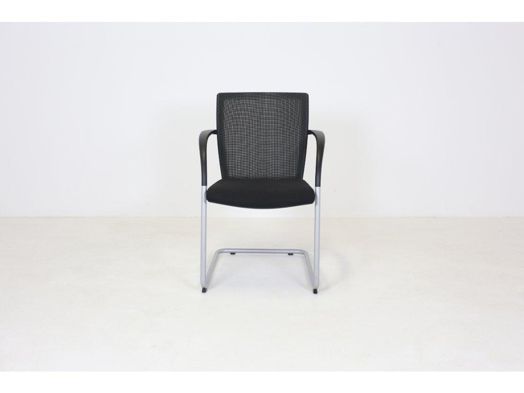 Židle konferenční, K+N, černá/šedá, záda síť