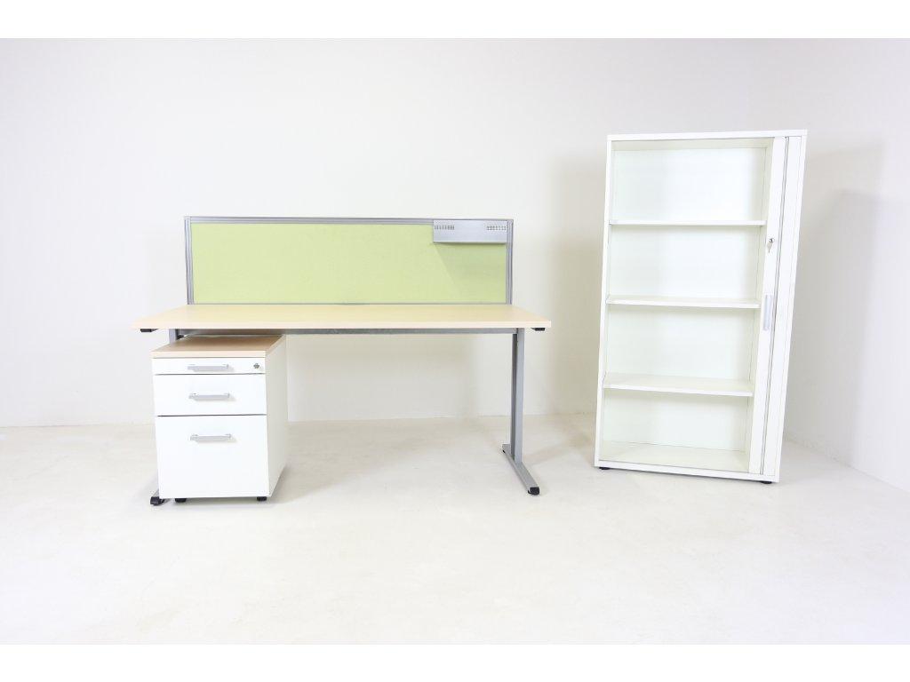Set: Stůl 160x80 CL200+kontejner+skříň, bříza/bílá
