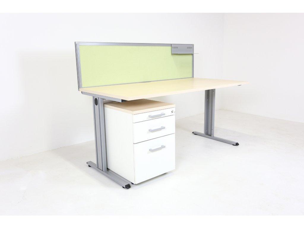 Set: Stůl 160x80 CL200+kontejner+paraván, bříza/bílá/zelená