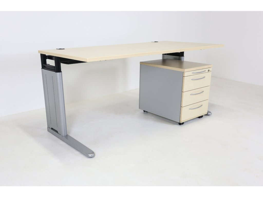 Set: Stůl KN + kontejner, 160x80, javor/šedá, výš. stavitelný 68-82 cm