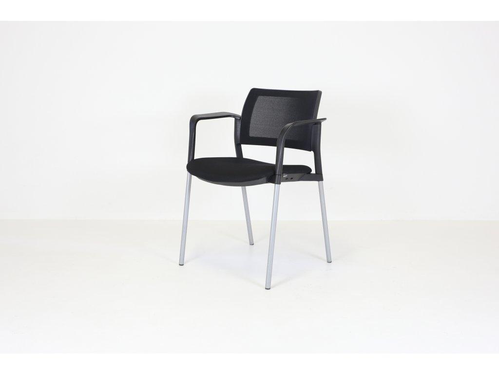 Židle konferenční, Bejot, černá/šedá, područky