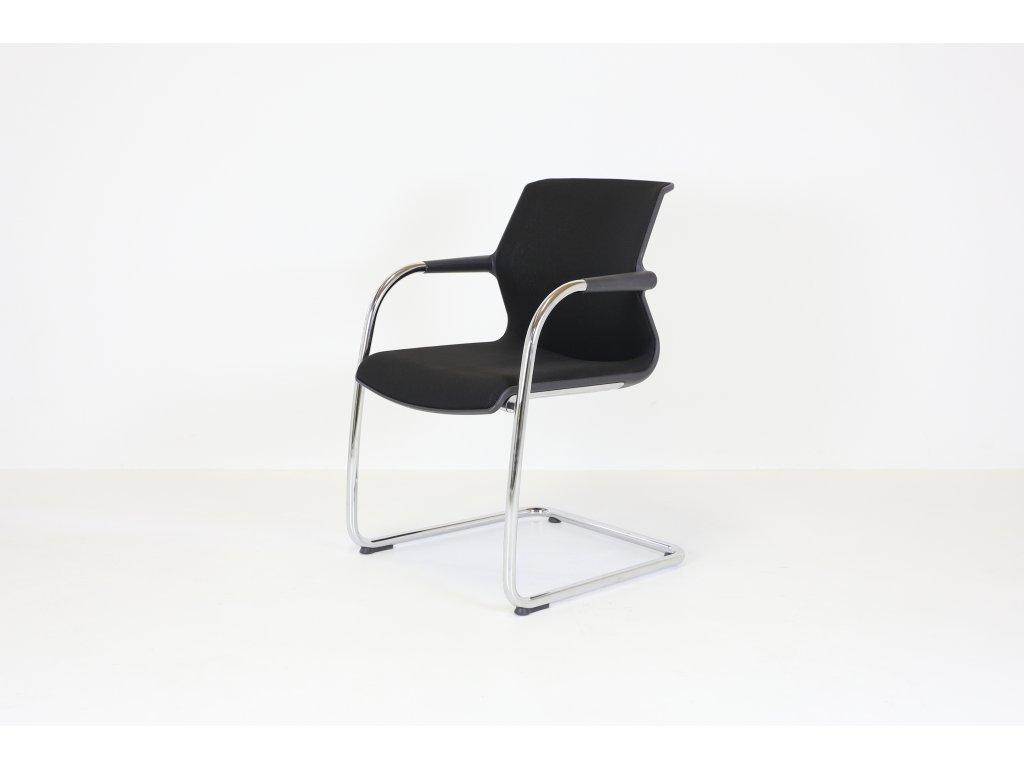 Židle konferenční, Vitra Unix, černá/chrom
