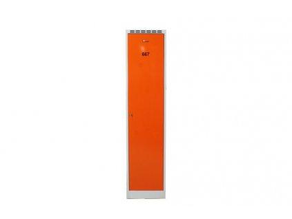 Kovová šatní skříň, 195x45x58, šedá/oranž. dveře
