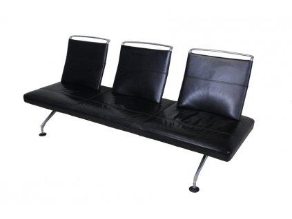 Vitra Area Sofa - černá kůže, leštěný hliník