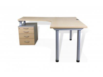 Stůl rohový, levý, kontejner, buk/šedá