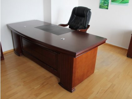 Stůl, 180x100x76, masiv, tmavý ořech, zaoblený