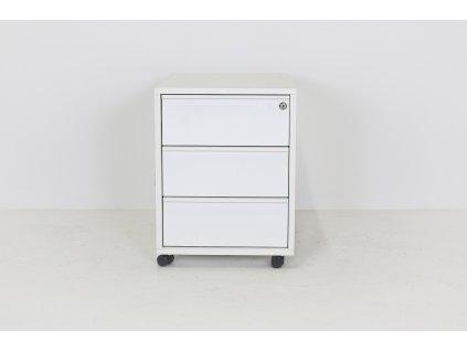 Kontejner, Narbutas,klíč, pod stůl, v64,5x41x50cm, bílá, kolečka,