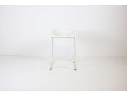 Židle barová, bílá, plast