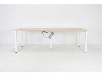 Stůl konferenční, Narbutas, 240x90, běl. Dub/bílá, elektrobox