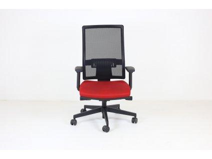 Židle kancelářská, Rim, fun, červená, područky, vysoký opěrák, síťovanná záda