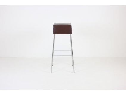 Židle barová, hnědá koženka/chrom, lehce odřená