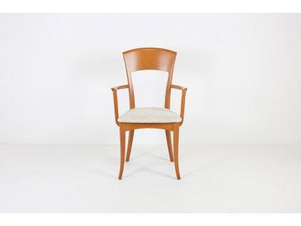 Židle jídelní, masiv, ořech/béžový polstr. sedák, madla